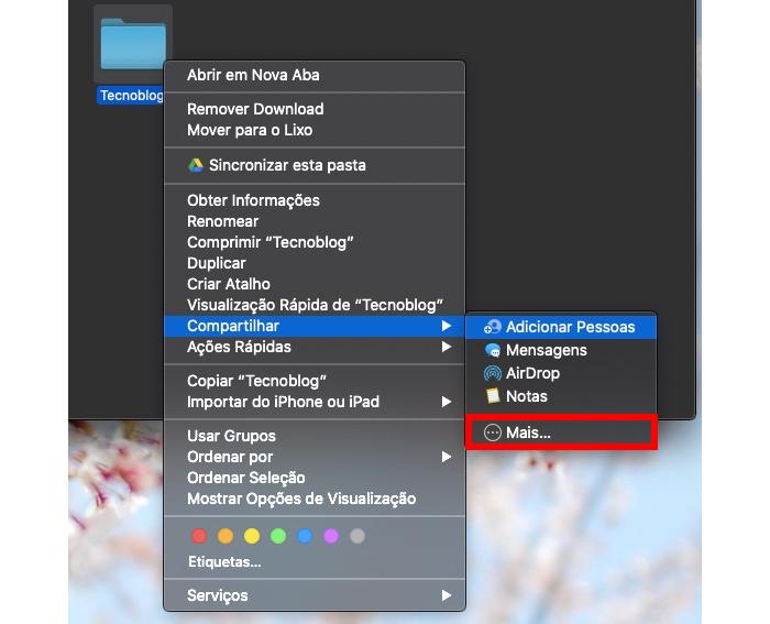 Copiando link do iCloud Drive no Mac (Imagem: Reprodução/Apple)
