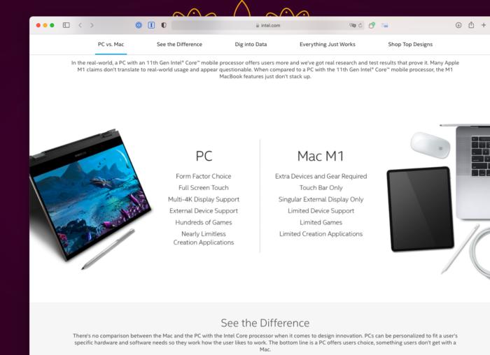 Site da Intel compara PC e Mac com Apple M1 (Imagem: Reprodução/Tecnoblog)