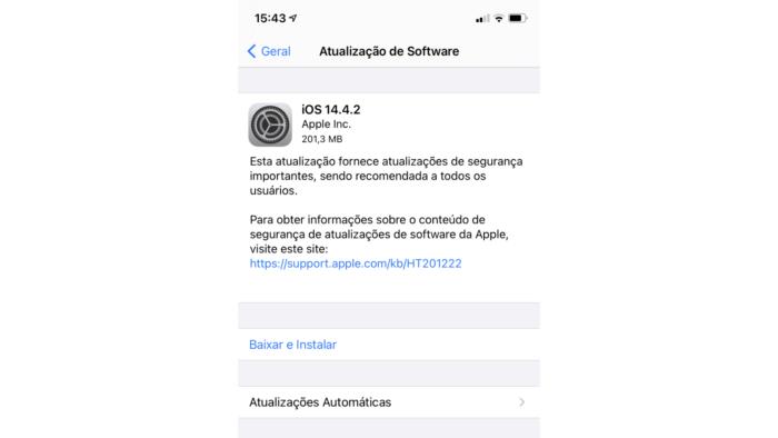 iOS 14.4.2 corrige falhas de segurança no iPhone (Imagem: Reprodução/Apple)