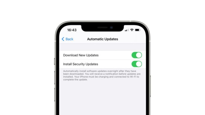 Configuração de atualização automática do iOS 14.5 beta (Imagem: Reprodução/9to5Mac)