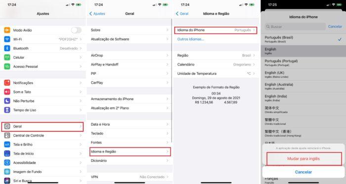 No iOS também é necessário alterar o idioma do sistema para que o Spotify também seja alterado (Imagem: Reprodução / iOS)