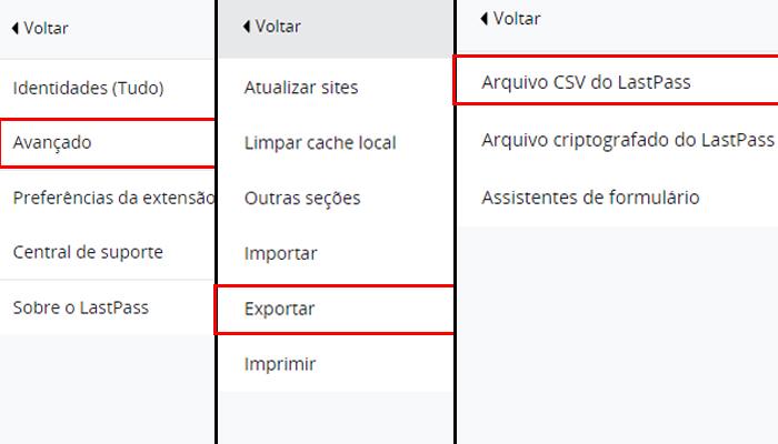 Processo para exportar senhas e logins do LastPass (Imagem: Reprodução/LastPass)