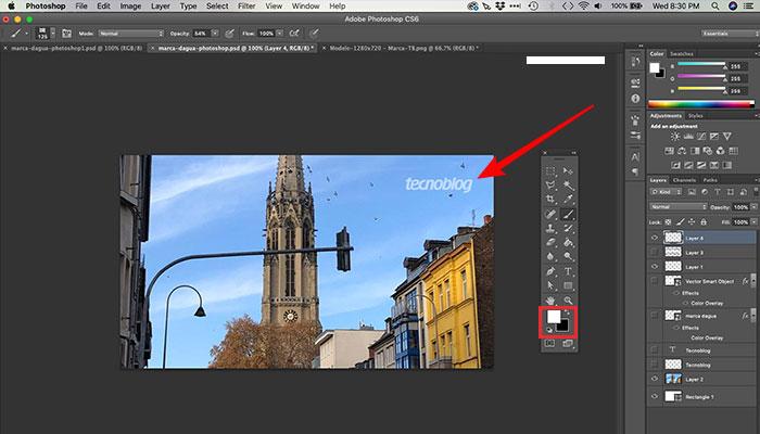 Editando a cor da marca d'água no Photoshop