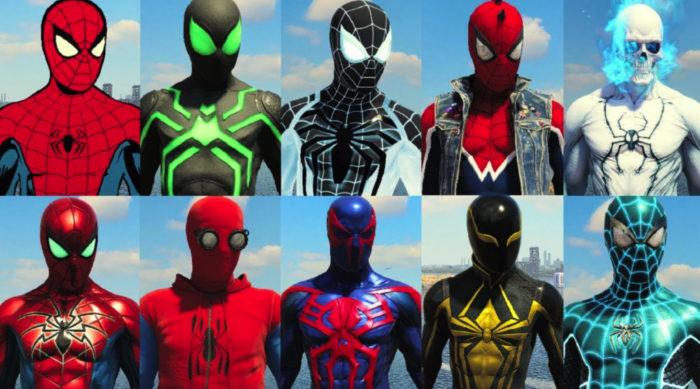 Alguns dos vários trajes disponíveis no jogo (Imagem: Reprodução/Insomniac Games/Sony Interactive Entertainment) / como jogar Marvel's Spider Man