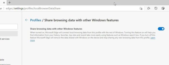 Versão Canary do Microsoft Edge ganha função para compartilhar dados de navegação com o Windows (Imagem: Reprodução/Techdows)