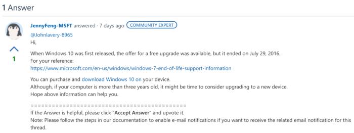 Windows 10 grátis acabou em 2016, diz empresa (Imagem: Reprodução / Microsoft)