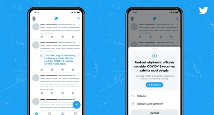 Twitter vai incluir avisos em tweets com fake news sobre as vacinas da COVID-19 (Imagem: Reprodução/Twitter Blog)