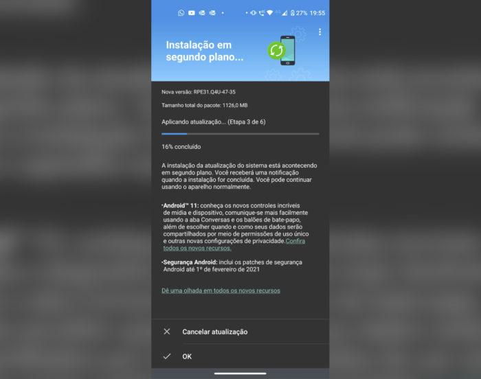Moto G8 Power recebe Android 11 (Imagem: Reprodução/João Henrique/Twitter)