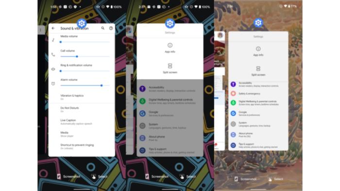 Ajustes no menu de apps recentes do Android 12 DP2