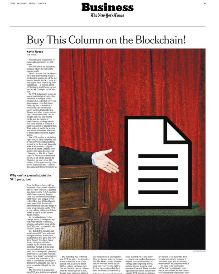 Imagem PNG correspondente à coluna do New York Times que foi vendida como NFT (Imagem: Reprodução/Foundation)