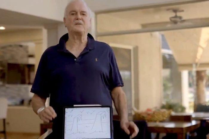 Em uma sátira, John Cleese, de Monty Python, registra desenho feito em iPad como NFT (Imagem: Reprodução/Twitter)