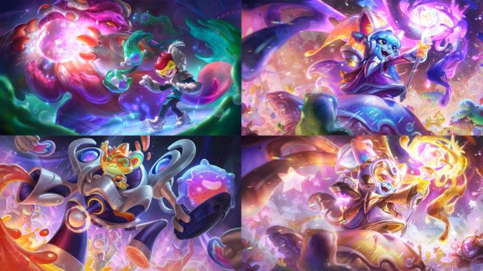 """Nunu, Rumble e Lulu junto a as skins """"Embalos no Espaço"""" (Imagem: Divulgação/Riot Games)"""