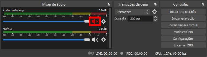 Saída de áudio mutada no OBS (Imagem: Reprodução/OBS Project) / como tirar o som do discord no obs