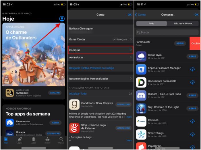 Como ocultar compras na App Store pelo iPhone (Imagem: Reprodução/App Store)