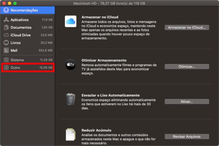 """Detalhes de armazenamento do macOS, com o """"Outro"""" em destaque (Imagem: Reprodução/Apple)"""
