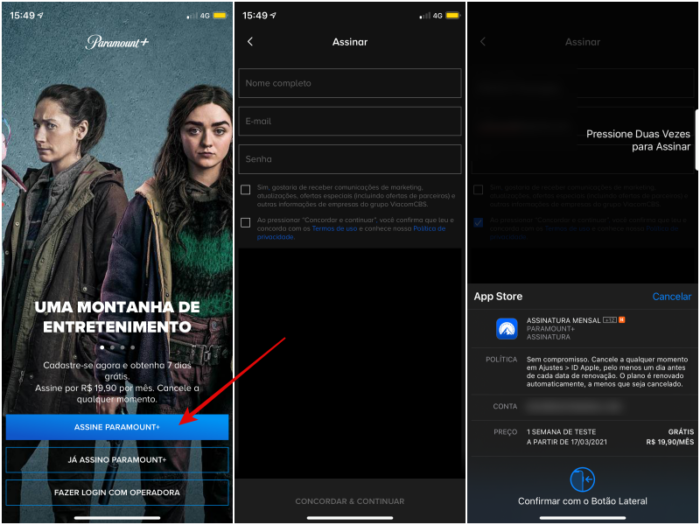 Como assinar Paramount+ pelo aplicativo (Imagem: Reprodução/Paramount+)