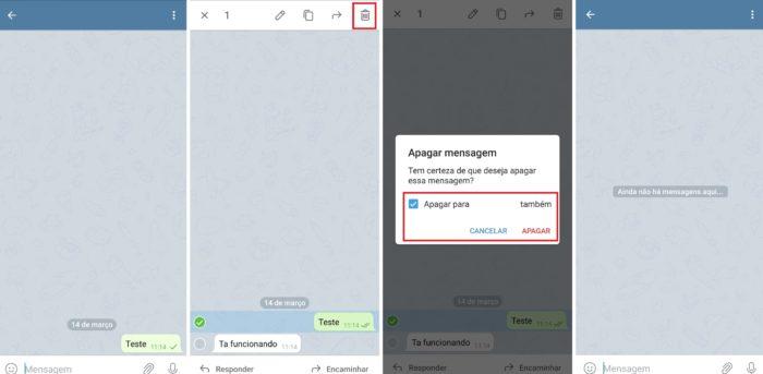 É possível apagar apenas uma mensagem selecionada e deletá-la sem deixar rastros (Imagem: Reprodução / Telegram)