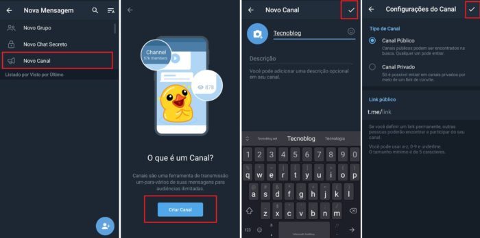 Criando um canal no Telegram (Imagem: Reprodução / Telegram)