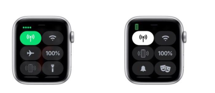 O ícone de rede celular no Apple Watch mostra se o sinal está ativo ou não (Imagem: Divulgação / Apple)