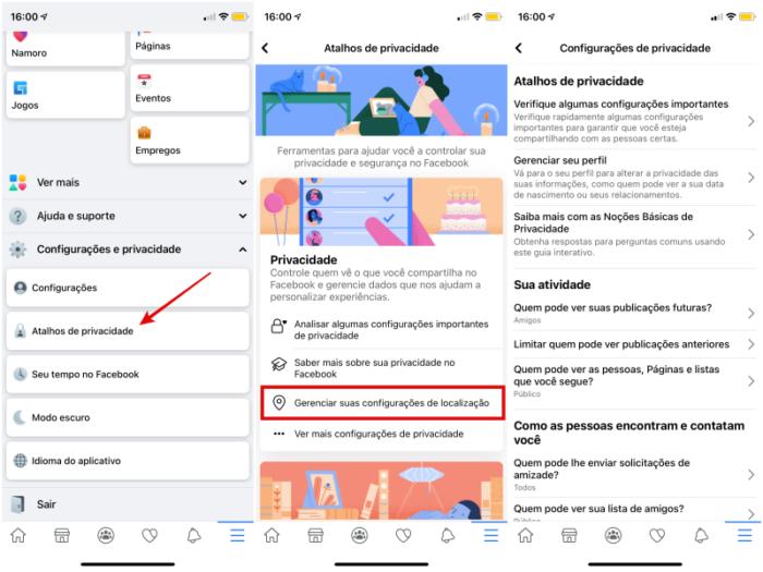 Configurações de privacidade no Facebook (Imagem: Reprodução/Facebook)