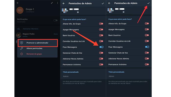 Processo para promover um membro a administrador em um grupo no Telegram (Imagem: Reprodução/Telegram)