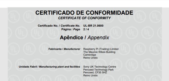 Certificado de conformidade técnica do Raspberry Pi 400