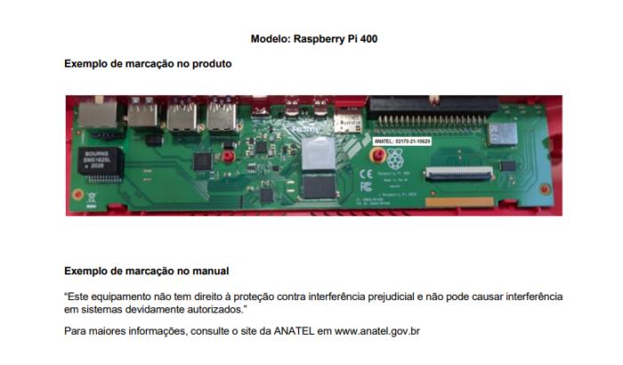 Marcação da Anatel na placa do Raspberry Pi 400