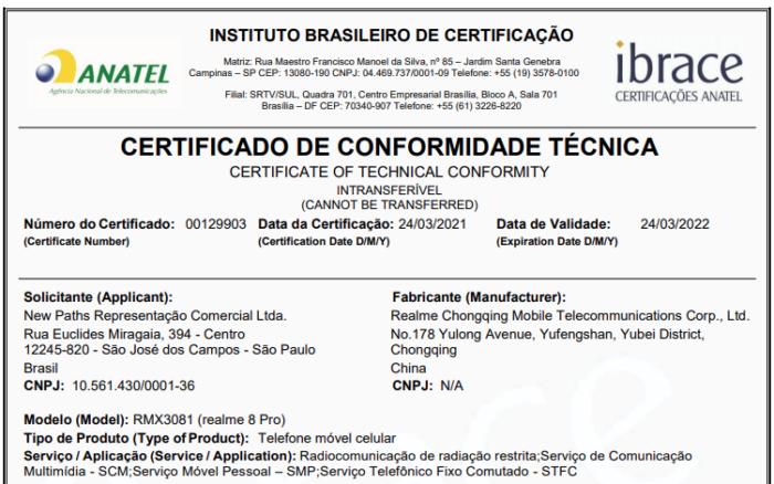 Certificação da Anatel para o Realme 8 Pro (Imagem: Reprodução/Anatel)