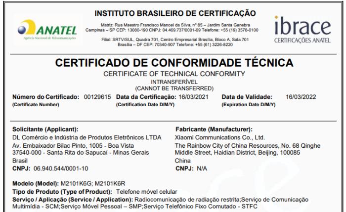Certificação da Anatel para o Redmi Note 10 Pro (Imagem: Reprodução/Anatel)