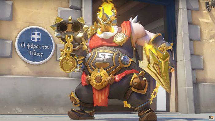 A skin Roadhog Midas homenageia a equipe San Francisco Shock, vencedora da OWL 2020 (Imagem: Divulgação/Blizzard)