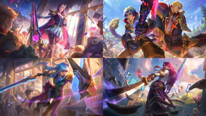 Skins Academia de Batalha para Caitlyn, Wukong, Garen, Leona e Yone (Imagem: Divulgação/Riot Games)