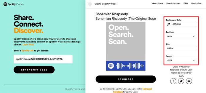 Você pode personalizar o código com cores de fundo, tamanho ou formato (Imagem: Reprodução / Spotify)