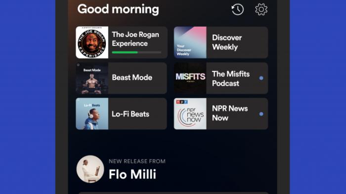Spotify ganha novos recursos para a tela inicial (Imagem: divulgação/Spotify)