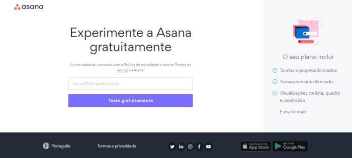 Faça o cadastro na Asana e experimente o teste gratuito (Imagem: Reprodução / Asana)