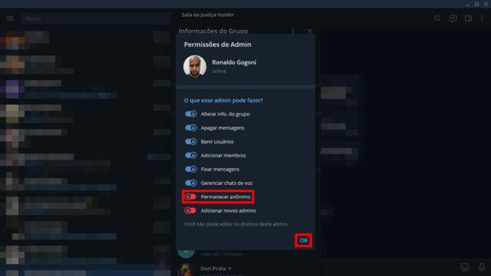 """Ativando o """"modo Batman"""" de grupos no desktop (Imagem: Reprodução/Telegram) / como ficar invisível no Telegram"""