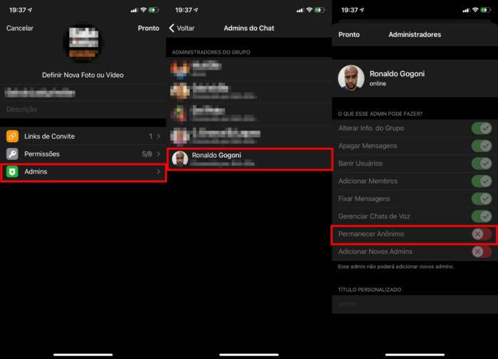 """Ativando o """"modo Batman"""" de grupos no iPhone (Imagem: Reprodução/Telegram) / como ficar invisível no Telegram"""