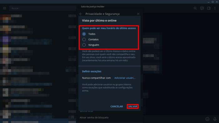 Como ocultar o status online do Telegram no desktop (Imagem: Reprodução/Telegram) / como ficar invisível no Telegram