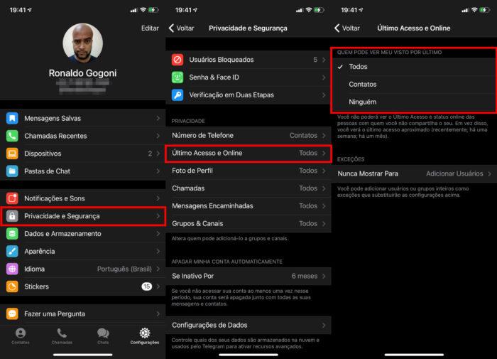 Como ocultar o status online do Telegram no iPhone (Imagem: Reprodução/Telegram)