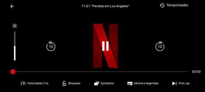 Temporizador no player da Netflix para Android (Imagem: Reprodução/Android)