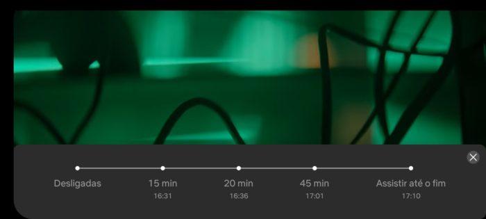 Timer no player da Netflix para Android (Imagem: Reprodução/Android)