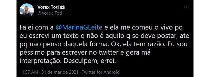 """Tweet de Toti dizendo que sua fala foi """"má interpretada (Reprodução/Twitter @roque_mn)"""