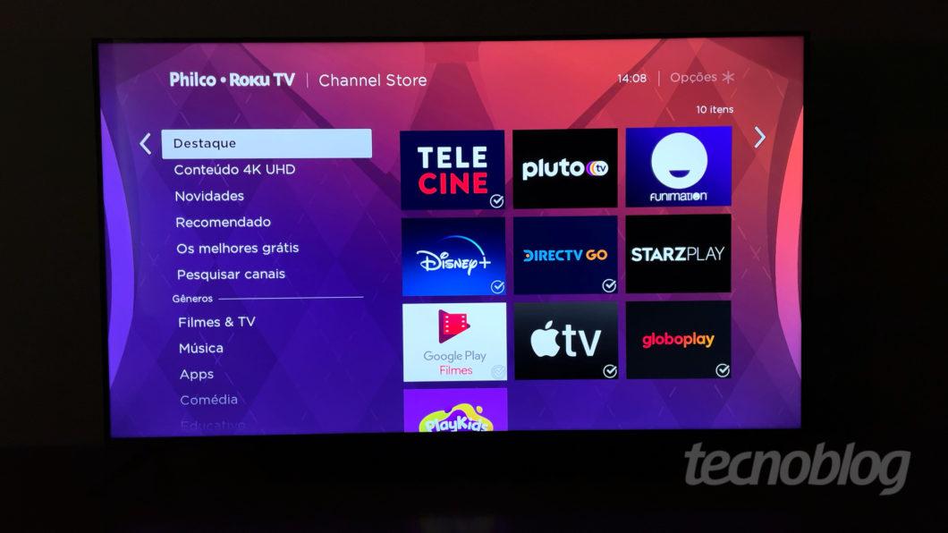 Telecine, Funimation, Disney+, Globoplay e mais streamings na Roku TV (Imagem: Paulo Higa/Tecnoblog)