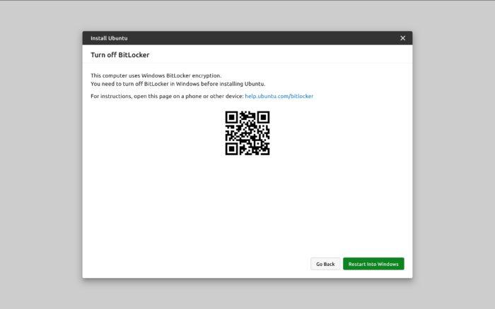 Novo instalador do Ubuntu — desativando Bitlocker (imagem: divulgação/Canonical)