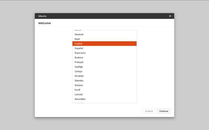 Novo instalador do Ubuntu — escolha do idioma (imagem: divulgação/Canonical)