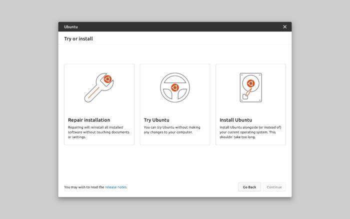 Novo instalador do Ubuntu — tipo de instalação (imagem: divulgação/Canonical)