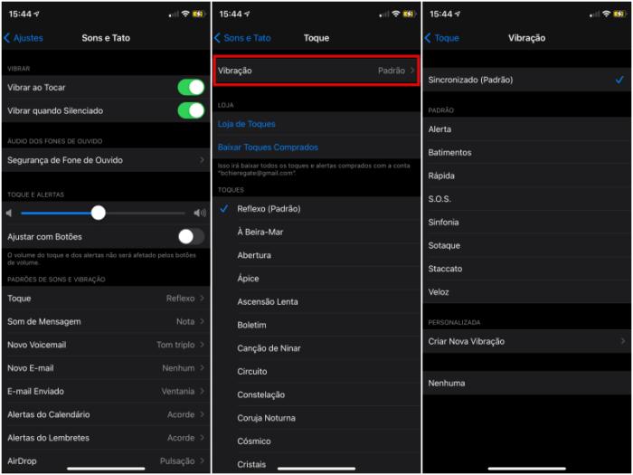Mudar o padrão de vibração no iOS (Imagem: Reprodução/iOS)