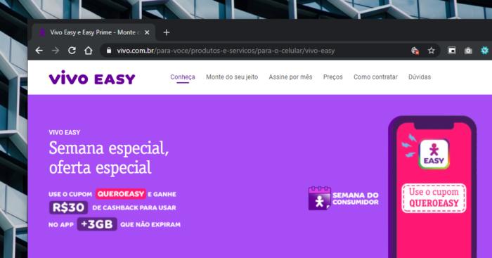 Promoção do Vivo Easy na Semana do Consumidor (Imagem: Reprodução)