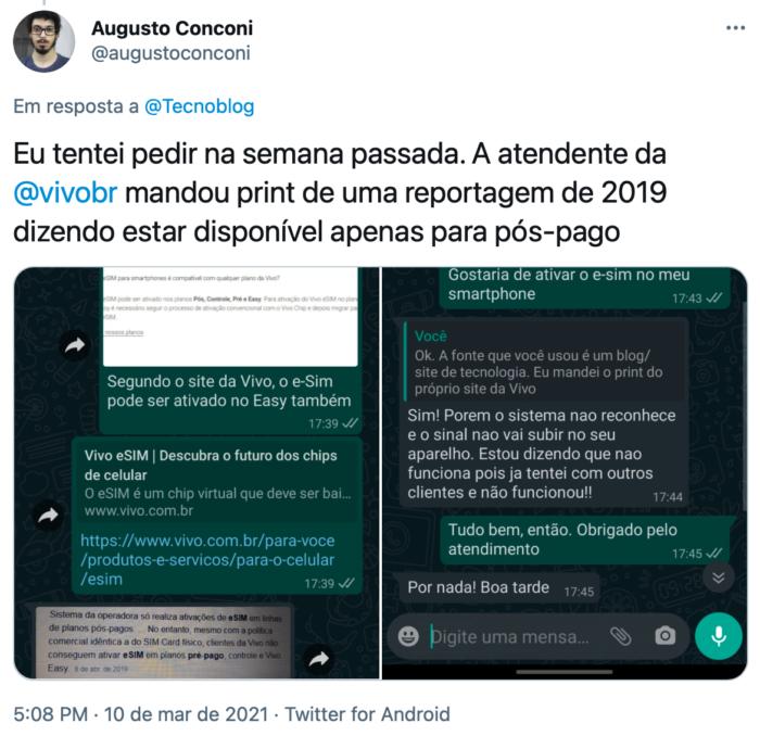 Loja da Vivo enviou reportagem de 2019 para falar sobre restrição do eSIM (Imagem: Reprodução/Twitter)