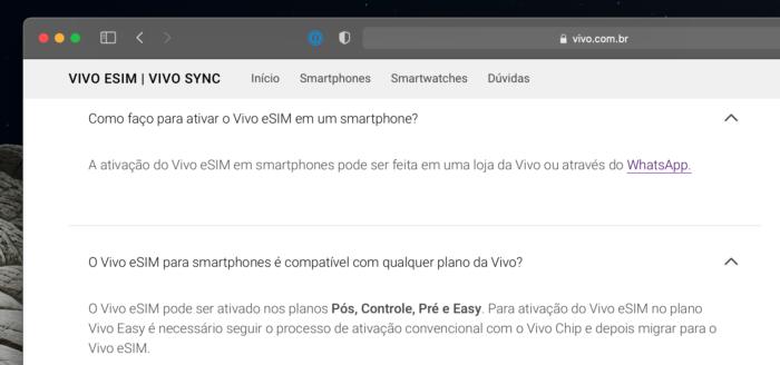 Site da Vivo informa requisitos sobre eSIM (Imagem: Reprodução)
