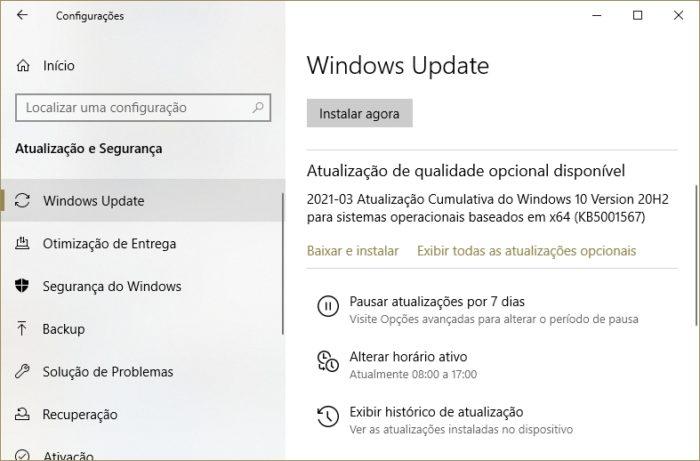Correção KB5001567 no Windows Update (imagem: Emerson Alecrim/Tecnoblog)
